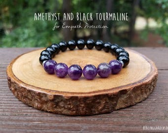 Empath Protection // Amethyst // Black Tourmaline // Stress Relief // Negative Energy Protection // Reiki Jewelry // Healing Garden Shop