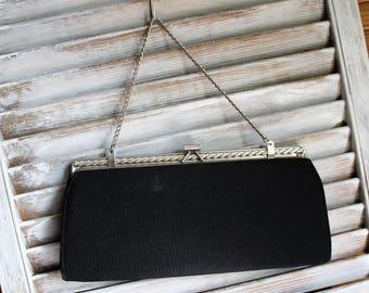 Vintage. Clutch. Handbag. Silver chain. Chain strap. Black. Cute bag!! 1960s.