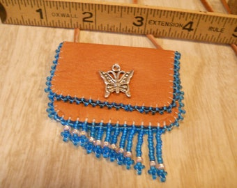 Hand Beaded Deerskin Medicine Bag with Pewter Butterfly Charm