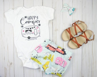 Baby Girl Outfits Summer - Baby Girl Clothes - Coming Home Outfit - Toddler Girl Outfits - Toddler Girl Clothes - Happy Camper Girl