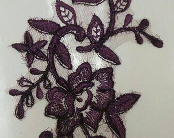 1 apply beautiful guipure 31 cm X 11 cm plum organza