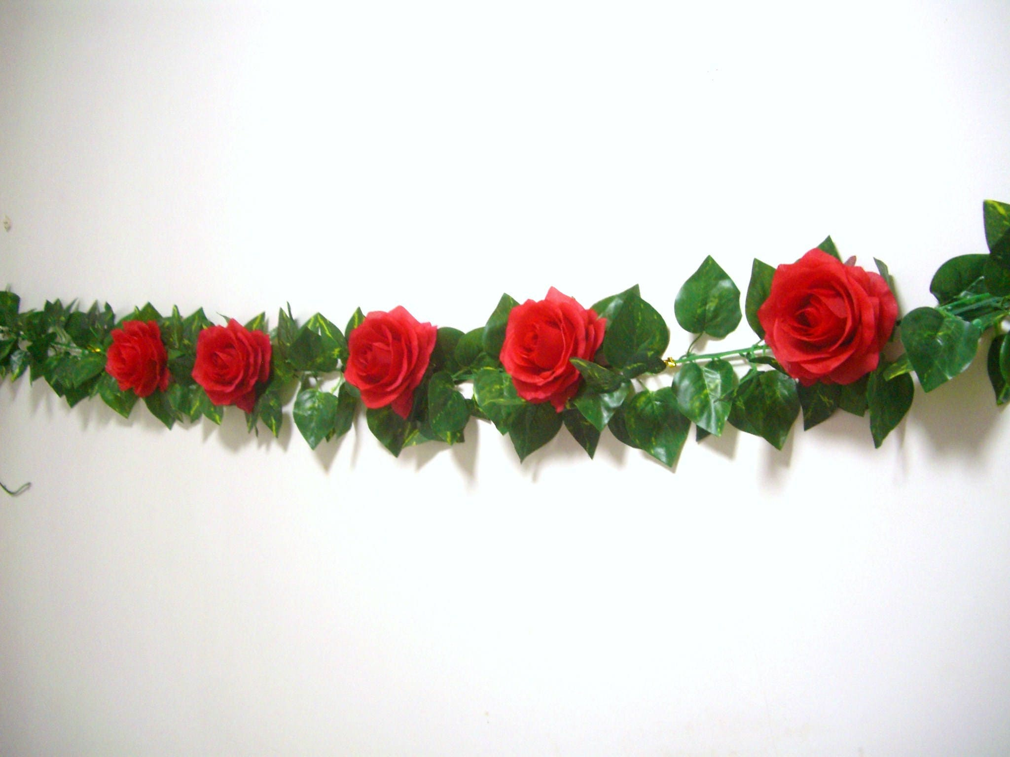 Wedding Garland,Red Silk Flower Garland,Red White Rose Garland ...