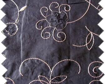 plain black cotton fabric embroidered 95 cm x 150 cm