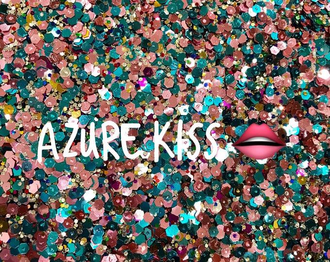 Azure Kisses Chunky Hexagonal Glitter Fabric
