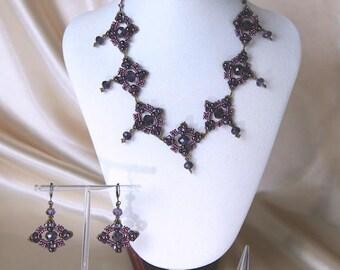 Amethyst Jewellery Set Necklace Earrings Ring Crystal Glass beads handmade