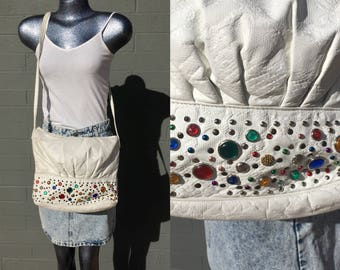 Studded Gem White Pleather Shoulder Bag Cross Body Bedazzled Eighties Vintage