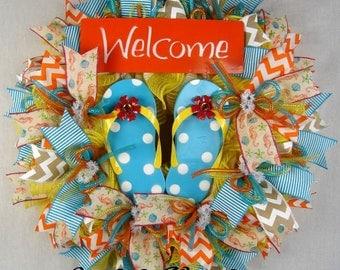 Welcome Flip Flops Mesh Wreath, Beachy Decor, Flip Flops Wreath, Summer Wreath
