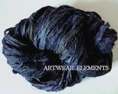 Pure Sari Silk, Vintage Indigo Navy Mix, Per Yard, Recycled Sari Silk, Fair Trade, Fabric, Ribbon, Yarn, Silk, ArtWear Elements, 212