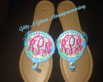 Monogrammed Flip Flops, Disc Sandals, Personalized Medallion Sandals, Beach Shoes, Cork Flip Flops, Monogram Gift, Birthday Gift