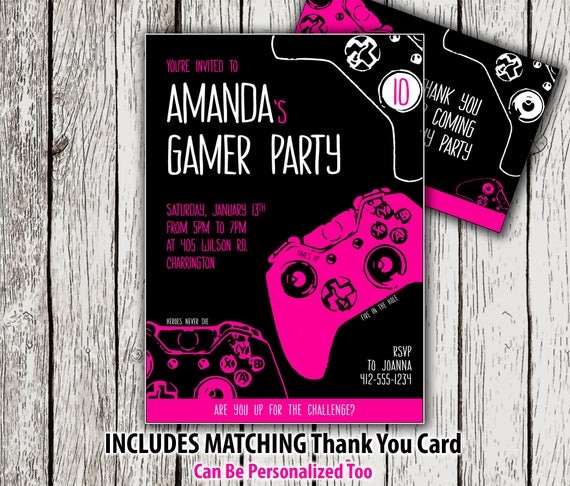 Printable gamer party invitation girl video game birthday il570xn stopboris Images