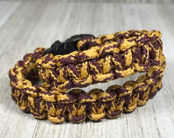 Purple and Gold Camouflage  Paracord Bracelet; Survival Gear Bracelet; Purple and Gold Square Knot Paracord Bracelet, Hand Woven Cord