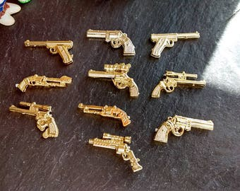 10 mini gold or silver guns Walking Dead cake toppers birthday party decorations steampunk thug life narco Murder Mystery Partners in Crime