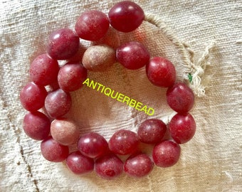 Ethiopia large old dark red Antique beads- Venetian old beads Africa trade beads