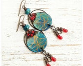Turquoise enamelled earrings - turquoise and red - boho earrings - artisan jewelry - turquoise flowers