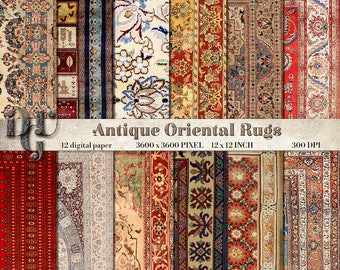 ORIENTAL RUGS Digital Paper Antique Persian Carpet digital paper pack bohemian digital paper instant download antique digital background 145