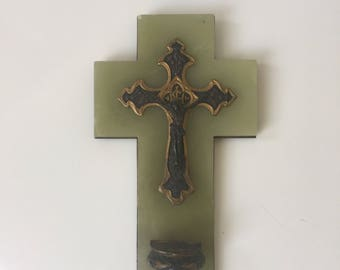 Antique Marble and Copper Crucifix with Holy Water Dish