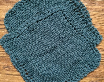 Cotton Knit Dish Cloths,  dark green knit dishcloth, hand knit dish rags, Cotton knit dishcloths, Cotton dishcloth