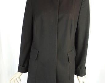 vintage AKRIS funnel neck faux patent leather trimmed minimalist black coat/ lean sihouette: US 12/ F44/ D42