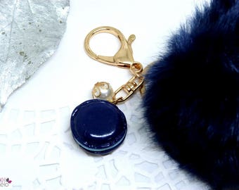Key chain fluffly Blue Navy and blue button