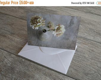 ON SALE Flower Note Card, Photo Note Card, Blank Note Card, White Envelope, Pale Carnations, Thank You, Birthday, 4x6 card; 105mm x 148mm ca