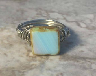 Ring Size 6.5 - Baby Blue Lavender Picasso ring with antiqued silver tone wire