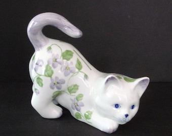Cat Piggy Bank - Andrea by Sadek Figurine - Vintage Ceramic Savings Coin Bank