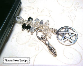 Wiccan Accessory Pagan Accessory Headphone Jack Dust Plug Goddess Pentacle Charm Cell Phone Accessory Tablet Accessory Electronics Plug