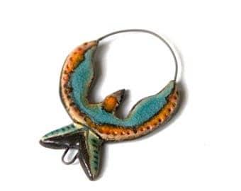 Stoneware BIRD pendant, handmade ceramic pendant - handmade jewelry components