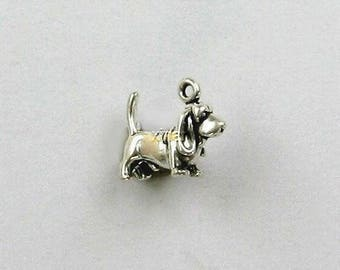 Sterling Silver 3-D Miniature Basset Hound Charm