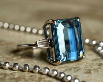 12ct Aquamarine Emerald Cut - Platinum and Baguette Diamond Ring - Vintage Circa 1960