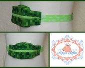 Green blocks insulin pump belt with neon green/white spots elastic. Size 1 (age 2 - approximately age 9).