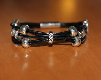 several black leather with different beads bracelet