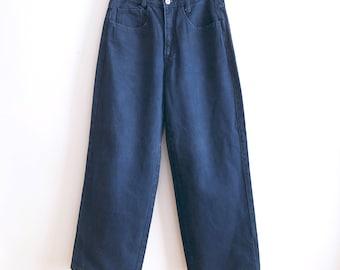 Vintage 90s LeBon U.S.A. Jeans Baggy highwaisted wide leg dark blue skater rave sz 29