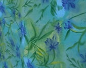 Large Section Cotton Blend Fabric Screen Printed Irises Blue Green Sewing Quilting Supply by Sykel Enterprises 4.5x11ft