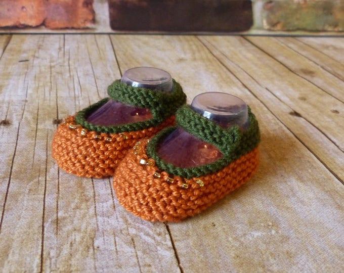 Pumpkin Crochet Baby Booties