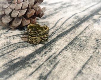 Bronze leaf ring - adjustable