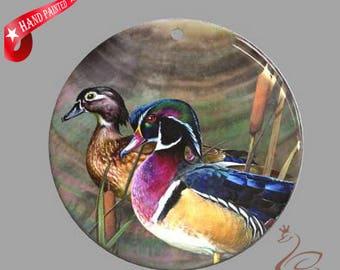 Hand painted  mandarin duck, Hand painted pendant, Hand painted necklace,, Painting mandarin duck, Shell painting mandarin duck.