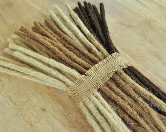 Human Hair Dreadlock Extensions + Free Dread Band, 16inches/40cm Long Crocheted Dreadlocks Extenders