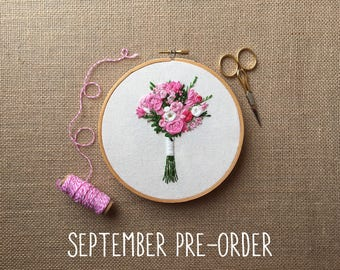 Reserved for Pamdillashaw- September PRE-ORDER Spot 1 - Embroidered Bridal Bouquet Portrait Custom Hoop Art. Hand Embroidery. Wedding Cotton