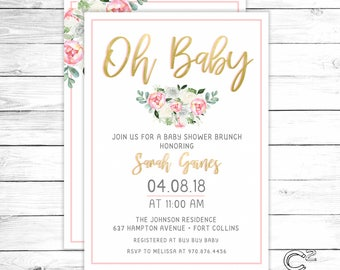 Oh Baby! Gold Shower Invitation