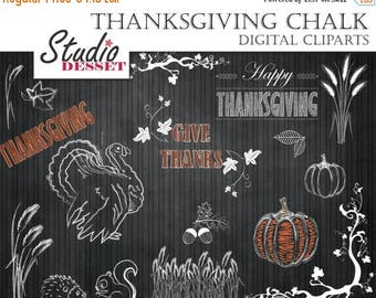 80% OFF - LIMITED TIME - Thanksgiving Clipart, Chalkboard Clip Arts, Chalk Turkey, Pumpkin, Fall Borders, Harvest Illustrations for Personal