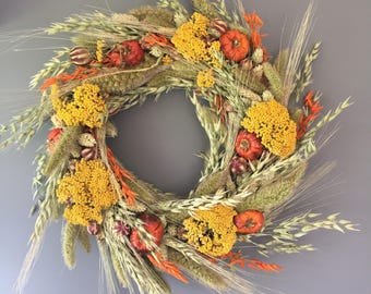 Dried flower wreath, Autumn flower wall decor, pumpkin wreath, kitchen wreath, fall wreath, Autumnal house decor