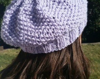 Knit Beret Hat, Beret Style Hat, Free Shipping Hat, Ready to ship Hat, Beanie, Slouchy Beret Hat, hat, Beret, Slouchy Hat, Purple slouch