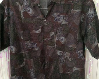 Thai silk green and brown abstract pattern button up shirt