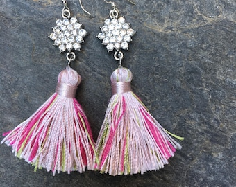 tassel earrings Shabby chic boho earrings bohemian sparkly earrings pink & green tassel crystal earrings  long dangle drop tassel  earrings