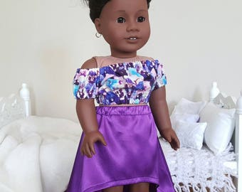 18 inch doll high/low skirt and peasant blouse | purple skirt | purple floral crop top