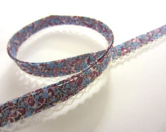 Slanted Ribbon with crochet trim/crochet edge-light blue with purple flowers