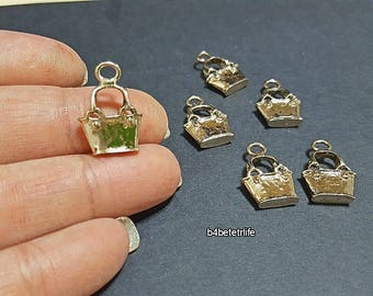 "Lot of 24pcs Double Sided ""Handbag"" Gold Color Plated Metal Charms. #XX219."