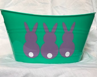 Personalized Purple and Teal Easter Bunny Basket