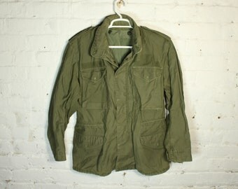 Vintage Army Military Cold Weather Coat field surplus jacket coat